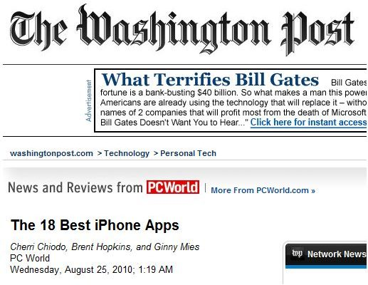 Washington Post marks TomTom iPhone as one of the Top 18 iPhone Apps